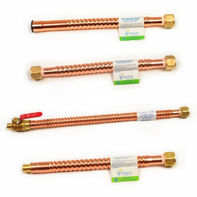 Crownflex corrugated copper water heater connector crown for Connecting pex to water heater